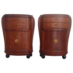 1920 Pair of Cabinets/Consoles/Cupboards Tinted Birch 4 Ball Legs Floral Emblem