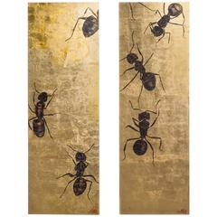 Large Gold Leaf Panel by Lily Lewis Titled the Colony, 2009