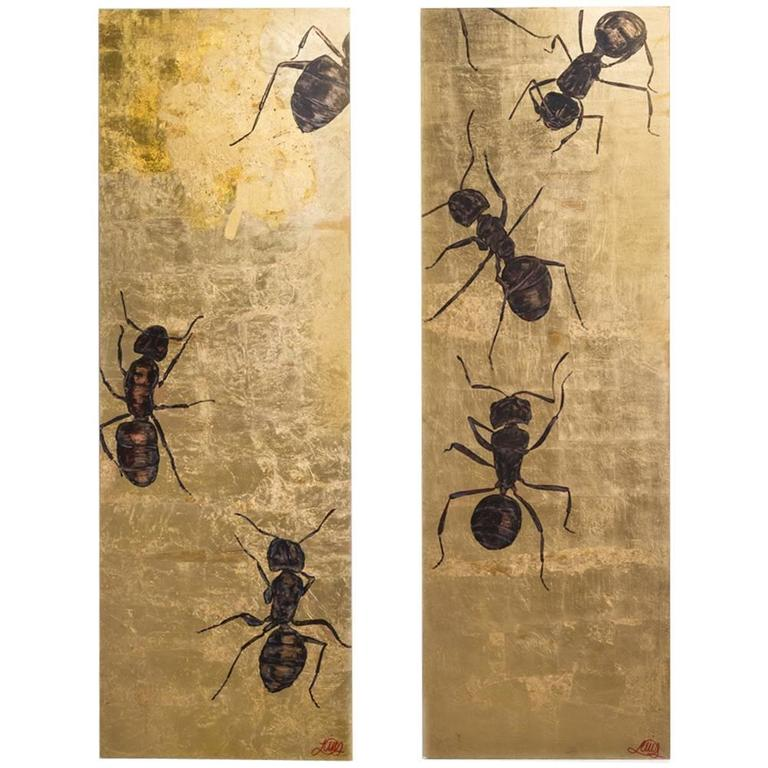 Large Goldleaf Panel by Lily Lewis Titled the Colony, 2009