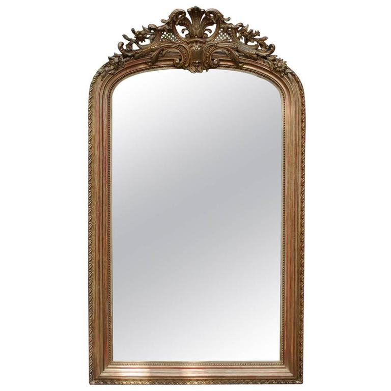 19th century large gold gilded mirror for sale at 1stdibs for Big gold mirror