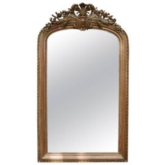 Antique 19th Century French Gold Gilded Louis Philippe Mirror with Crest