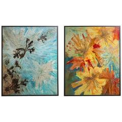 Large Pair of Abstract Mixed Media Framed Paintings, 1960s
