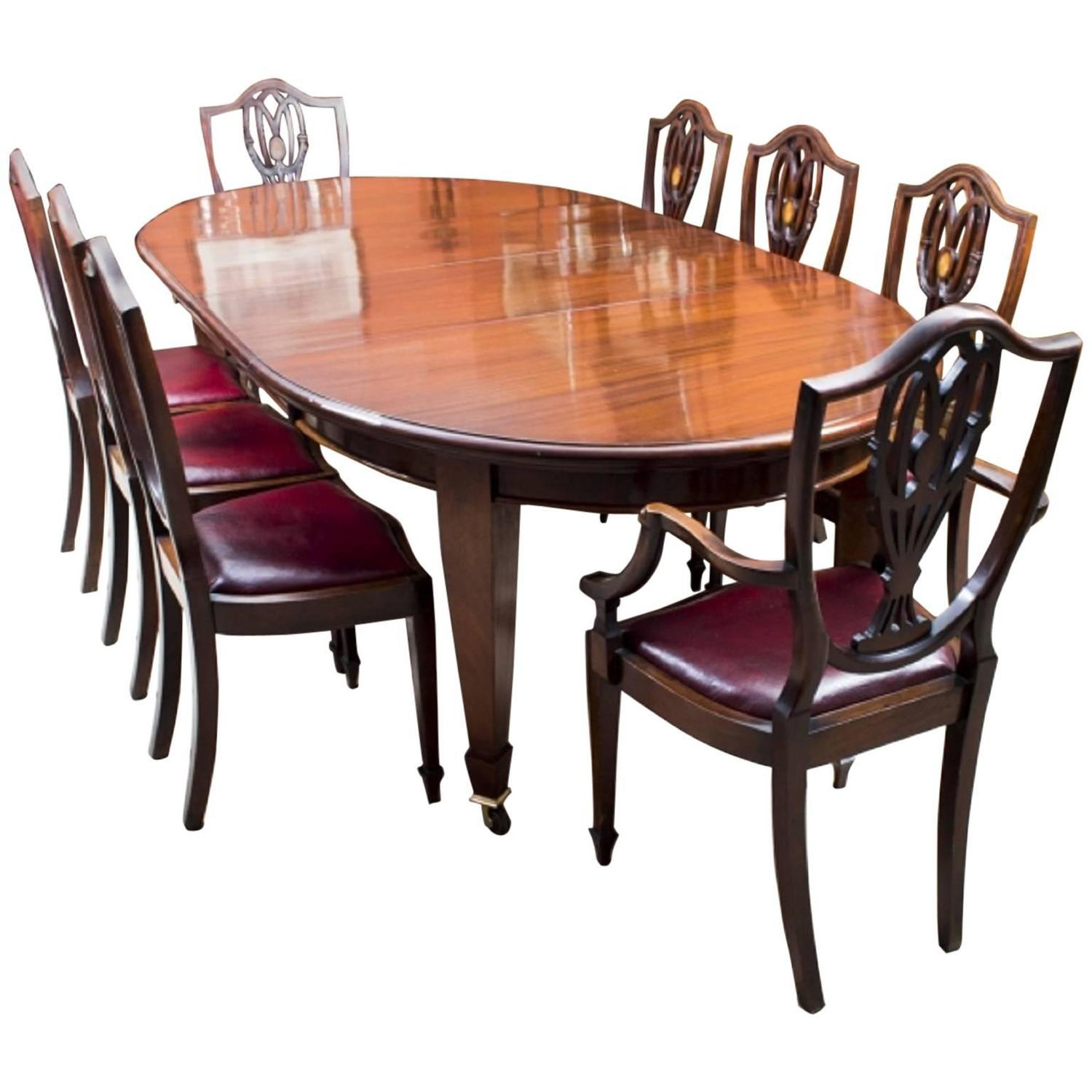 Antique edwardian dining table with eight chairs circa for Antique dining room furniture