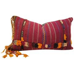 Custom Pillow Cut from a Vintage Hand Loomed Wool Moroccan Berber Rug