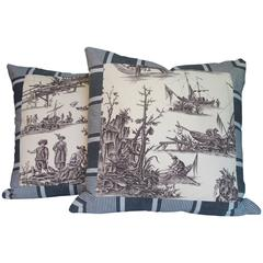 Pair of Vintage Nautical Toile Pillows by Mary Jane McCarty