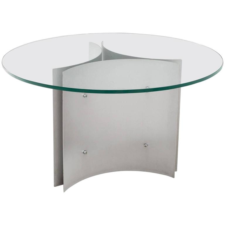 Round Pedestal Dining Table in Steel and Glass For Sale at  : 5045323l from www.1stdibs.com size 768 x 768 jpeg 15kB