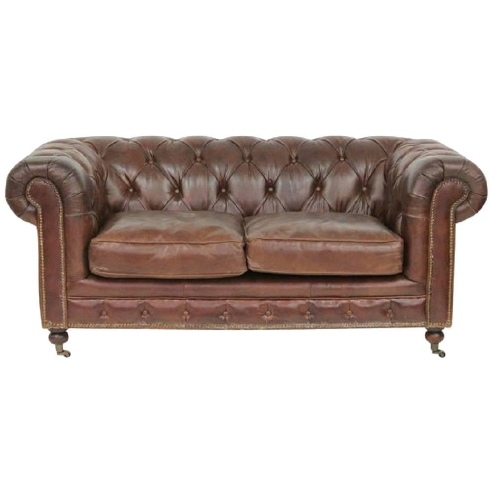 Brown tufted leather chesterfield sofa for sale at 1stdibs for Tufted couches for sale