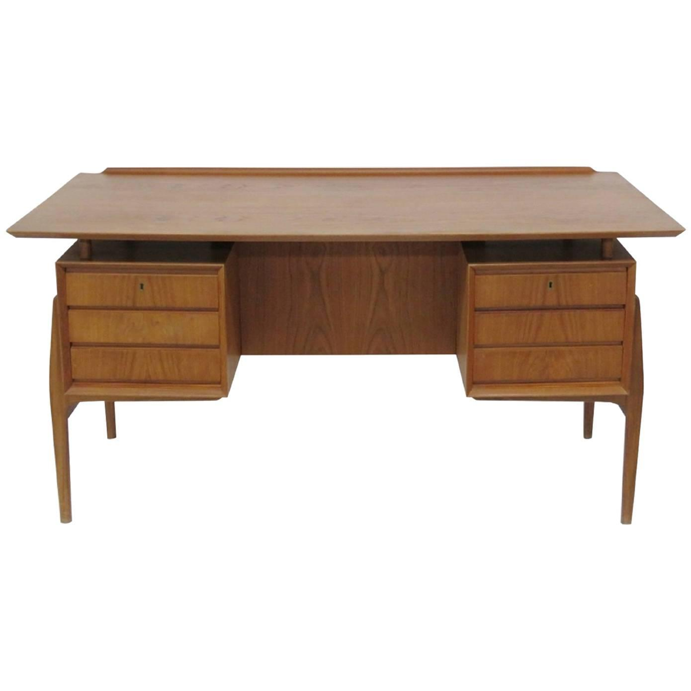 Danish modern arne vodder style floating top bookcase back for Floating desk for sale