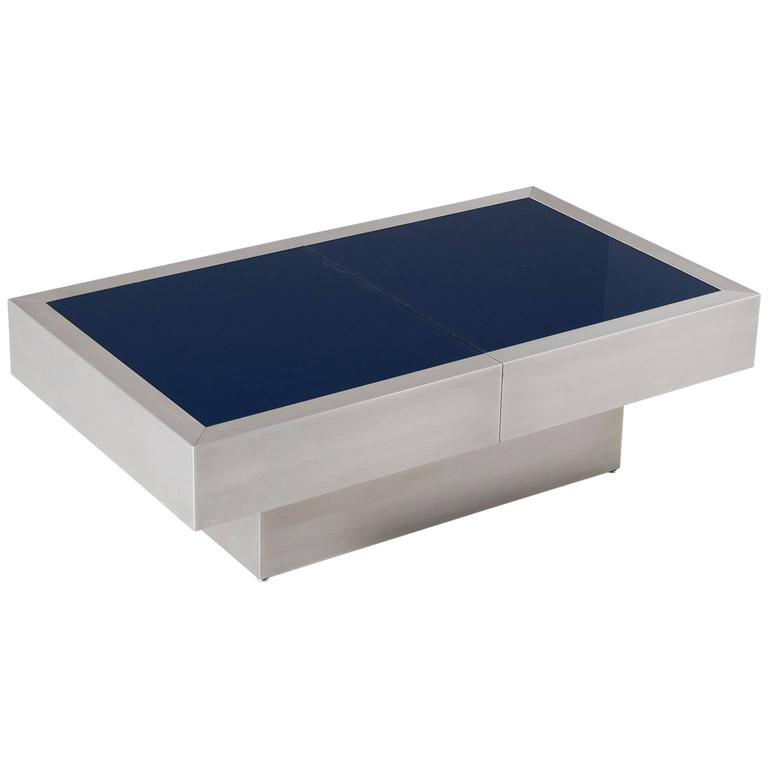 Extendable Glass Coffee Tables: Extendable Cocktail Table With Blue Glass Top For Sale At
