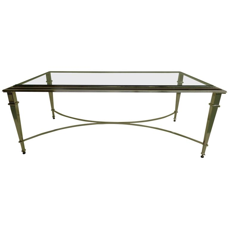 French Modern Neoclassical Nickel Coffee Table in the Style of Maison Ramsay