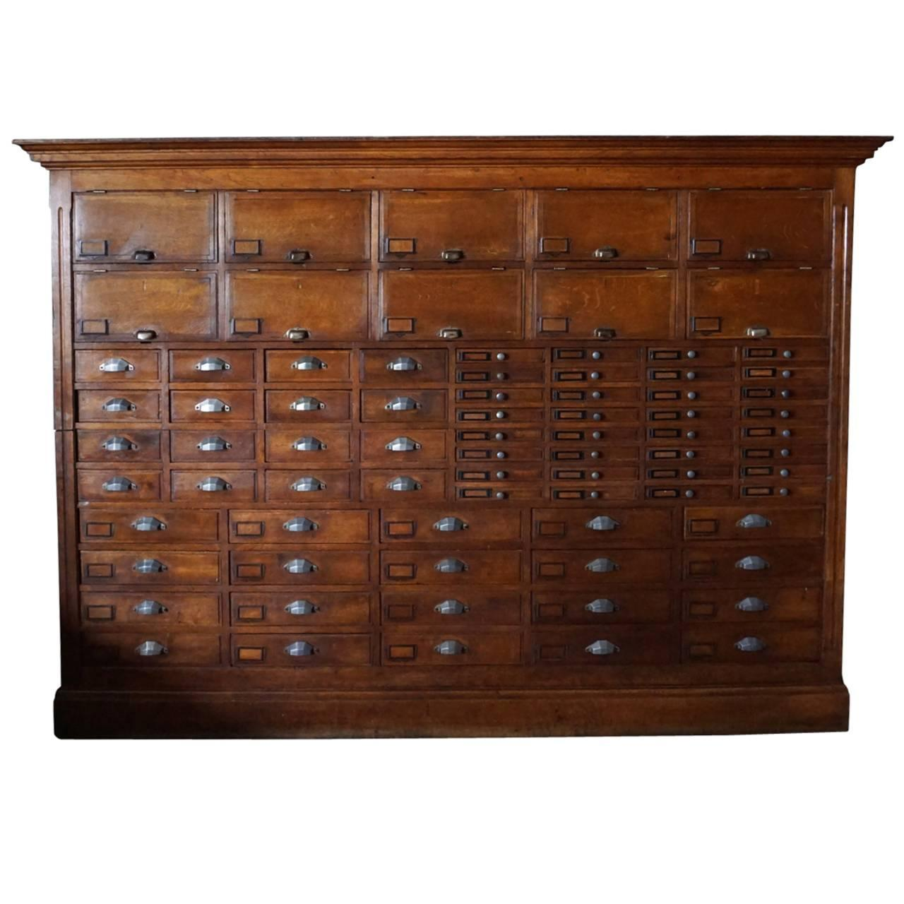 Marvelous French Oak Jewelers Or Apothecary Cabinet, 1930s At 1stdibs