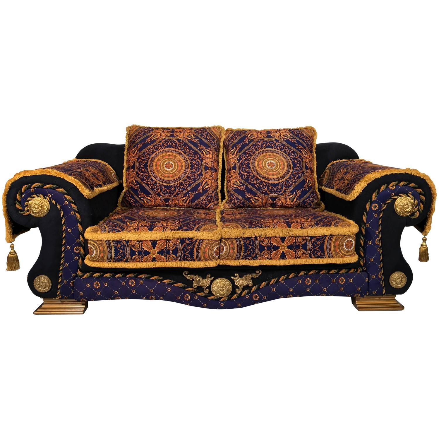 1980 italian design n o barocco velvet sofa versace style for sale at 1stdibs Versace home furniture uk