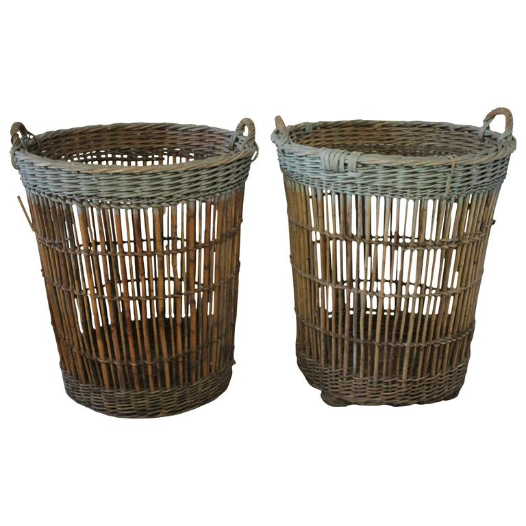 Pair of Large Antique French Harvest Baskets