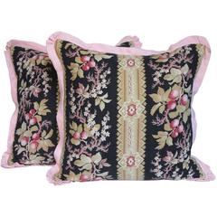 Pair of 19th Century French Floral Pillows by Mary Jane McCarty