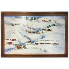 Folk Art Painting of a Snow Scene by American Artist Dewitt Jones Lobrano
