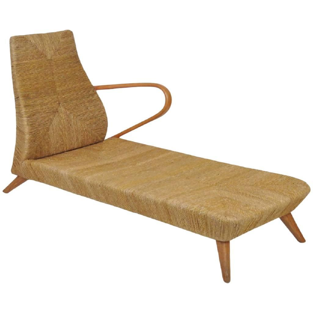 Italian modern teak and rattan chaise longue for sale at for Chaise longue rattan sintetico