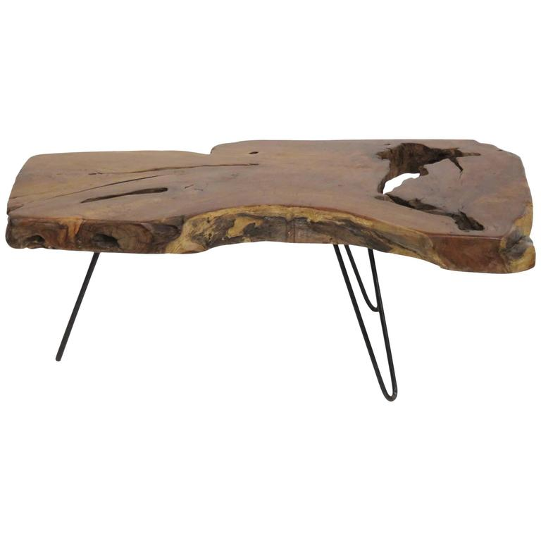 Wood slab coffee table for sale at 1stdibs for Wood slab coffee table