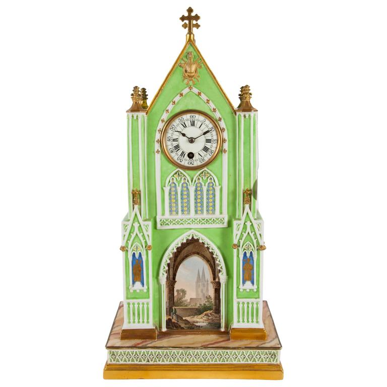 Gothic Revival Ty And Honore Porcelain Cathedral Form Mantel Clock For