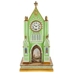 Gothic Revival Dagoty and Honore Porcelain Cathedral Form Mantel Clock