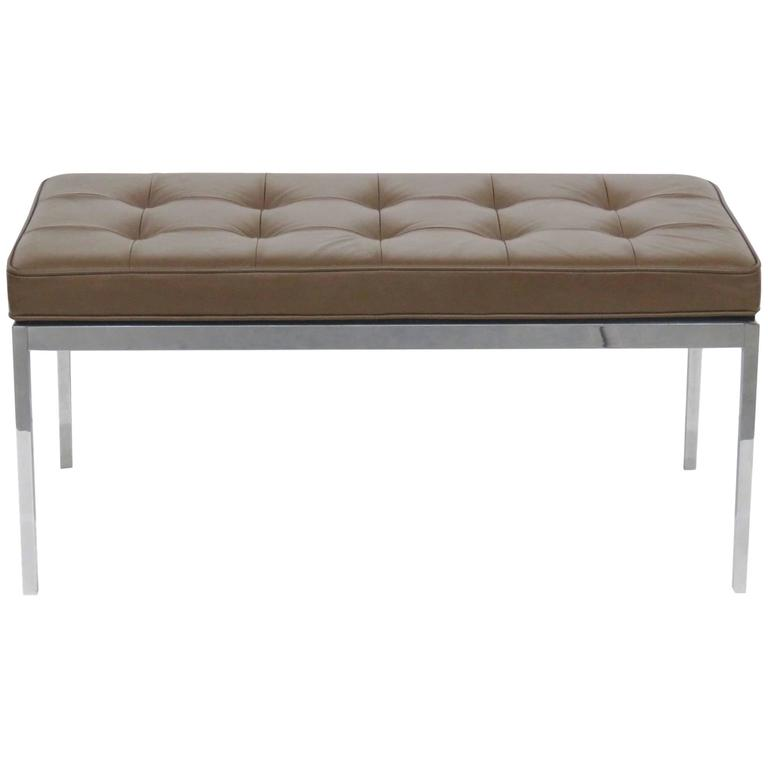 Florence Knoll Style Brown Leather Tufted And Chrome Bench At 1stdibs