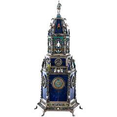 Fine Viennese Silver, Enamel and Lapis Lazuli Table Clock by H. Ratzersdorfer