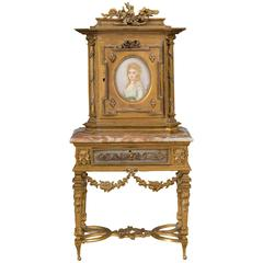 Miniature Louis XVI Style Ormolu and Marble Cabinet on Stand