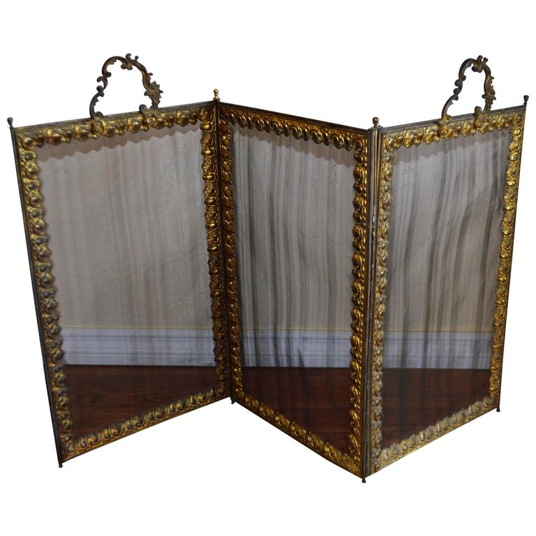 French Folding Bronze And Mesh Fireplace Screen For Sale