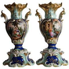 Pair of Jacob Petit Style Vases, 1850