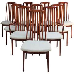 Set of Ten Sculptural Teak Dining Chairs by Dyrlund