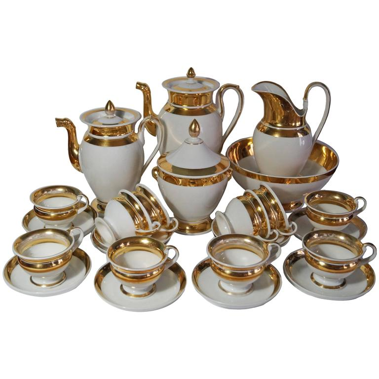 Old Paris French Gold Gilded Coffee And Tea Service Empire Period 1800