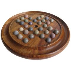 19th Century, Marble Solitaire Board Game, Walnut Board with 32 Handmade Marbles