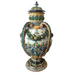 19th Century Important Painted, Spanish Terracotta Urns