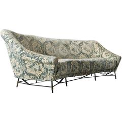 Saporiti Attributed Sofa with Floral Velour Upholstery