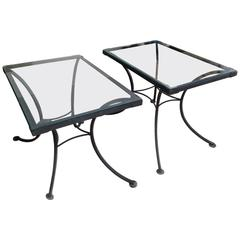 Pair of Wrought Iron and Glass Side Tables