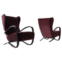 Jindrich Halabala Pair of Reupholstered Rare Wingback Lounge Chairs