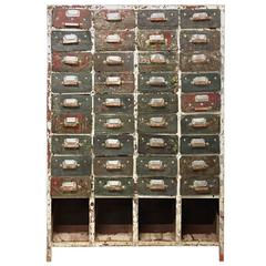 French Industrial 36-Drawer Cabinet