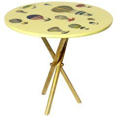 Elegant Brass Tripod Table Designed by Piero Fornasetti