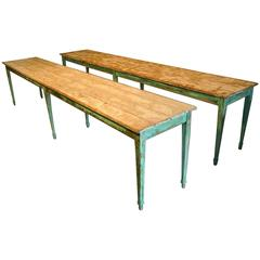 Pair of Long French Painted Farm Tables or Hall Tables