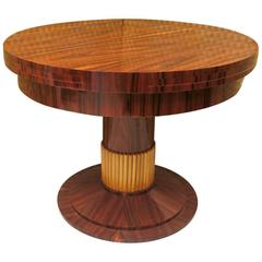 1930 Walnut and Maple Art Deco Extendable Table