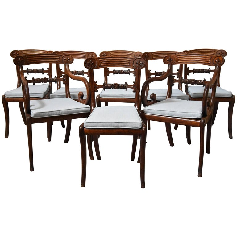 Superb Set of Eight Regency Mahogany Dining Chairs of Superb Patina For Sale