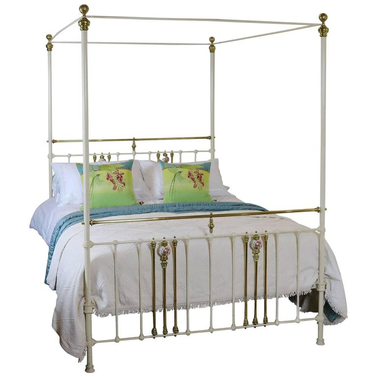 Cream metal four poster bed for sale at 1stdibs - Four poster bedroom sets for sale ...