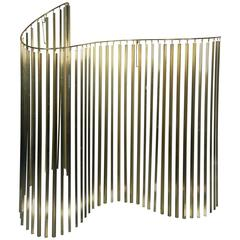 Wonderful Curtis Jere Kinetic Wave Form Chrome and Brass Wall Sculpture