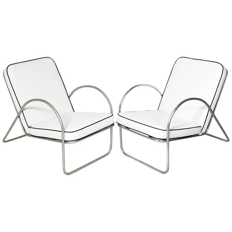 Pair of Streamlined Aluminum Chairs Attributed to Richard Neutra