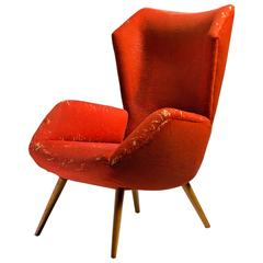 Red 1950s German Wingback Lounge Chair