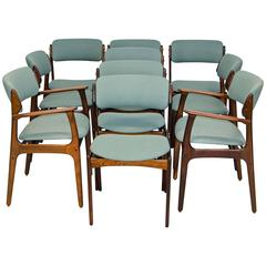 Set of Ten Danish Rosewood Dining Chairs by Erik Buck