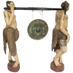 Unusual Burmese Gong Early 20th Century Carved Teak Shan Figurative Statues