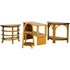 Collection of Small Rattan Accent Furniture Items