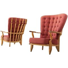 Guillerme & Chambron Set of Two High Back Lounge Chairs