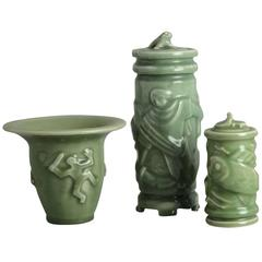 Three Items with Celadon Glaze by Jais Nielsen for Royal Copenhagen
