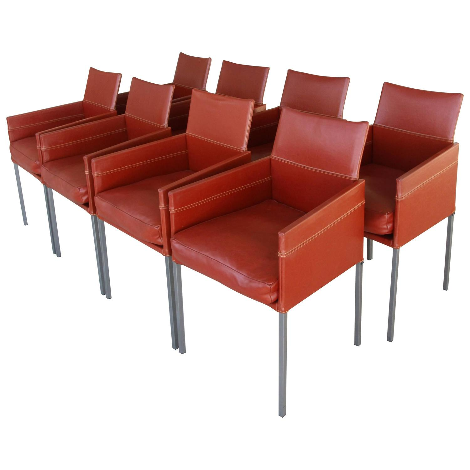 Set of Eight KFF Texas Armchairs in Brown Leather at 1stdibs